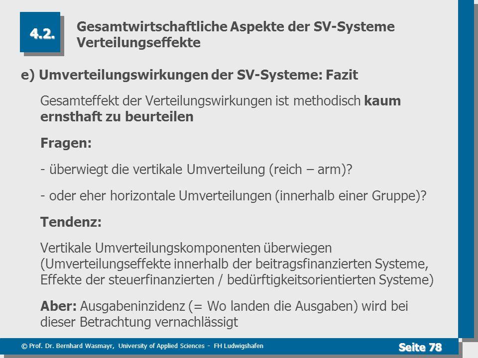 © Prof. Dr. Bernhard Wasmayr, University of Applied Sciences - FH Ludwigshafen Seite 78 Gesamtwirtschaftliche Aspekte der SV-Systeme Verteilungseffekt