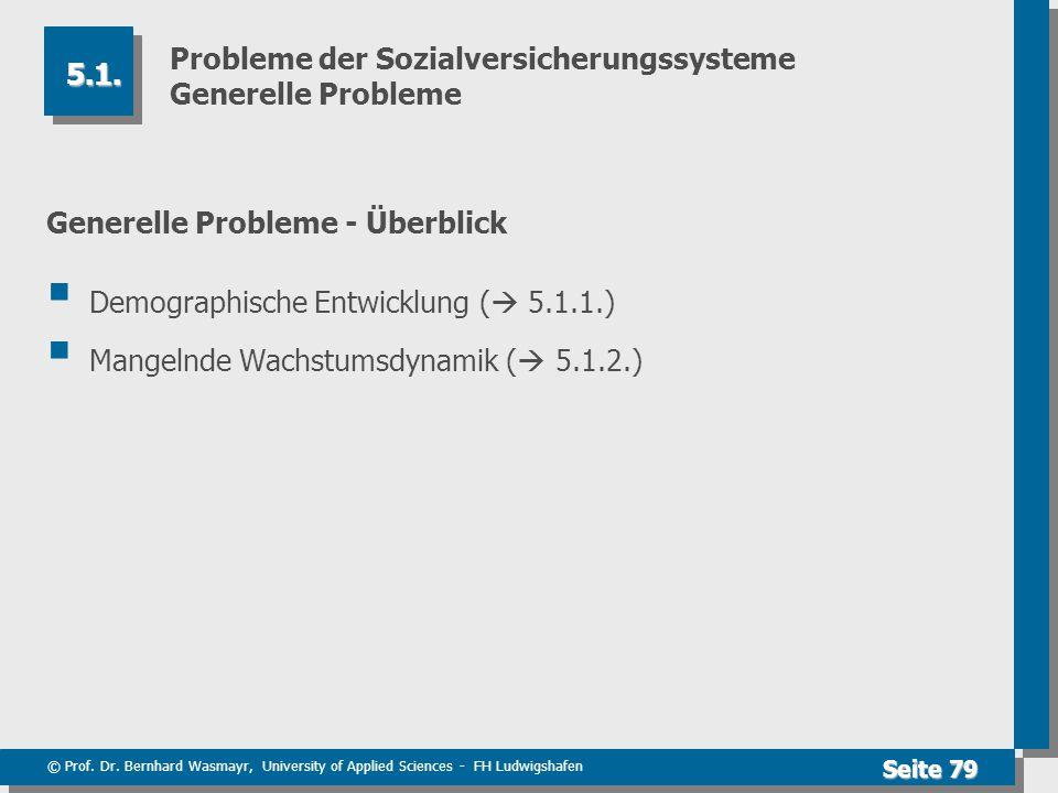 © Prof. Dr. Bernhard Wasmayr, University of Applied Sciences - FH Ludwigshafen Seite 79 Probleme der Sozialversicherungssysteme Generelle Probleme Gen