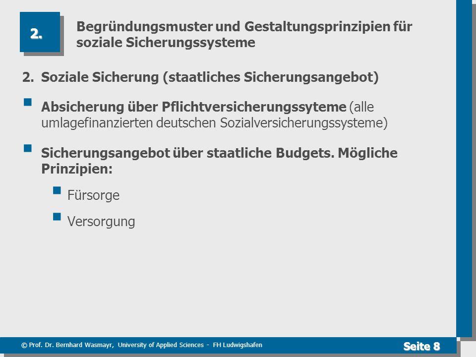 © Prof. Dr. Bernhard Wasmayr, University of Applied Sciences - FH Ludwigshafen Seite 8 Begründungsmuster und Gestaltungsprinzipien für soziale Sicheru