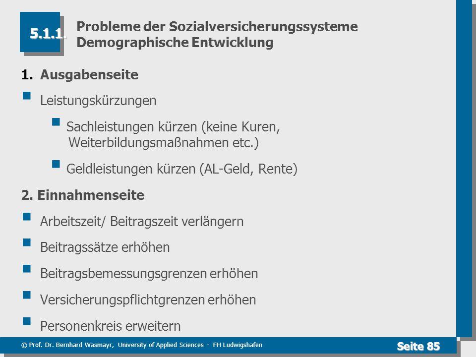 © Prof. Dr. Bernhard Wasmayr, University of Applied Sciences - FH Ludwigshafen Seite 85 Probleme der Sozialversicherungssysteme Demographische Entwick