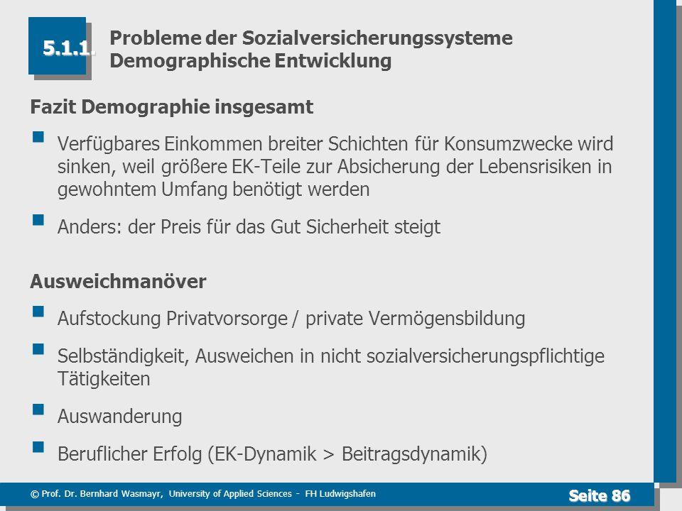© Prof. Dr. Bernhard Wasmayr, University of Applied Sciences - FH Ludwigshafen Seite 86 Probleme der Sozialversicherungssysteme Demographische Entwick