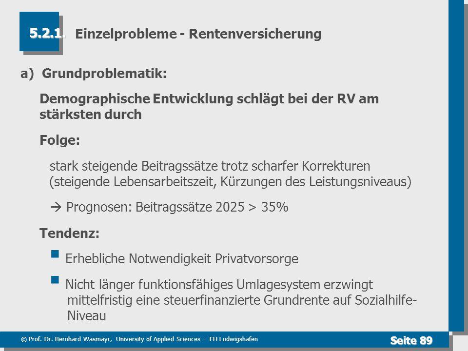 © Prof. Dr. Bernhard Wasmayr, University of Applied Sciences - FH Ludwigshafen Seite 89 Einzelprobleme - Rentenversicherung a) Grundproblematik: Demog