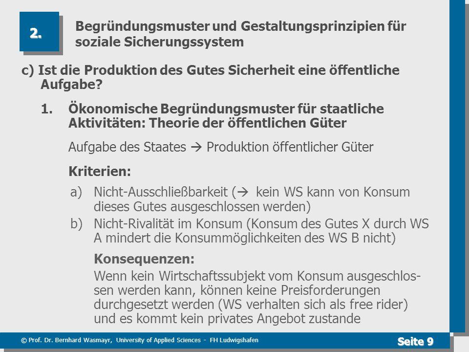 © Prof. Dr. Bernhard Wasmayr, University of Applied Sciences - FH Ludwigshafen Seite 9 Begründungsmuster und Gestaltungsprinzipien für soziale Sicheru