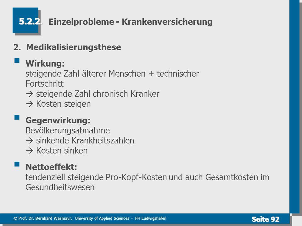 © Prof. Dr. Bernhard Wasmayr, University of Applied Sciences - FH Ludwigshafen Seite 92 Einzelprobleme - Krankenversicherung 2. Medikalisierungsthese