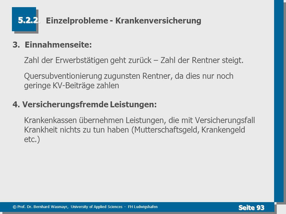 © Prof. Dr. Bernhard Wasmayr, University of Applied Sciences - FH Ludwigshafen Seite 93 Einzelprobleme - Krankenversicherung 3. Einnahmenseite: Zahl d