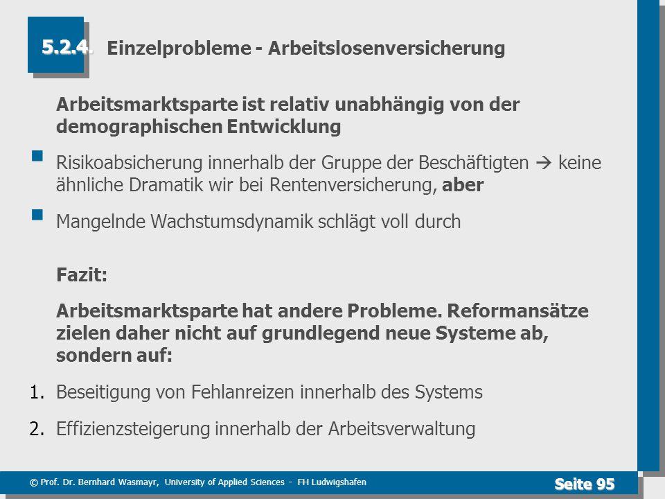 © Prof. Dr. Bernhard Wasmayr, University of Applied Sciences - FH Ludwigshafen Seite 95 Einzelprobleme - Arbeitslosenversicherung Arbeitsmarktsparte i