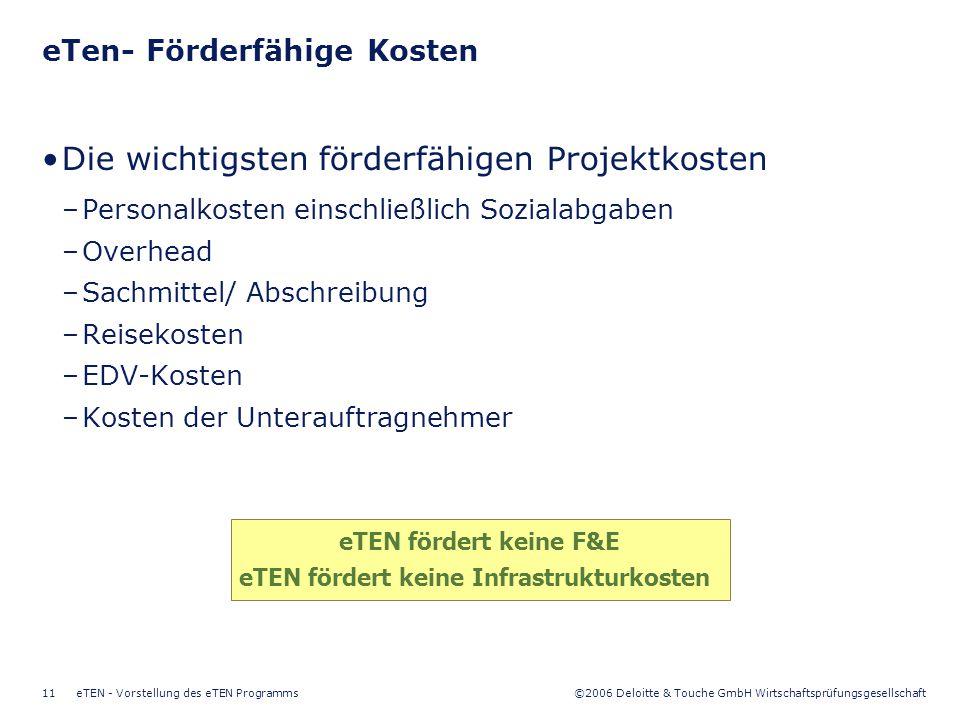 ©2006 Deloitte & Touche GmbH Wirtschaftsprüfungsgesellschaft eTEN - Vorstellung des eTEN Programms11 eTen- Förderfähige Kosten Die wichtigsten förderf