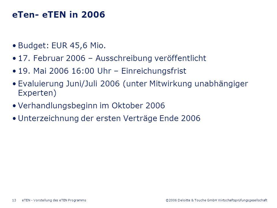 ©2006 Deloitte & Touche GmbH Wirtschaftsprüfungsgesellschaft eTEN - Vorstellung des eTEN Programms13 eTen- eTEN in 2006 Budget: EUR 45,6 Mio. 17. Febr