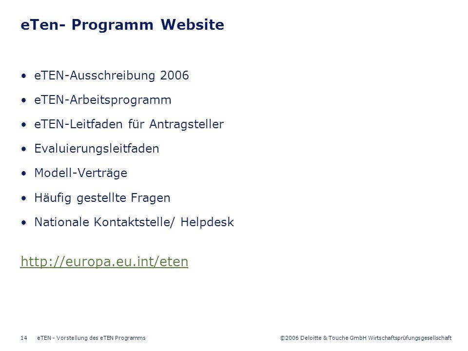 ©2006 Deloitte & Touche GmbH Wirtschaftsprüfungsgesellschaft eTEN - Vorstellung des eTEN Programms14 eTen- Programm Website eTEN-Ausschreibung 2006 eTEN-Arbeitsprogramm eTEN-Leitfaden für Antragsteller Evaluierungsleitfaden Modell-Verträge Häufig gestellte Fragen Nationale Kontaktstelle/ Helpdesk http://europa.eu.int/eten