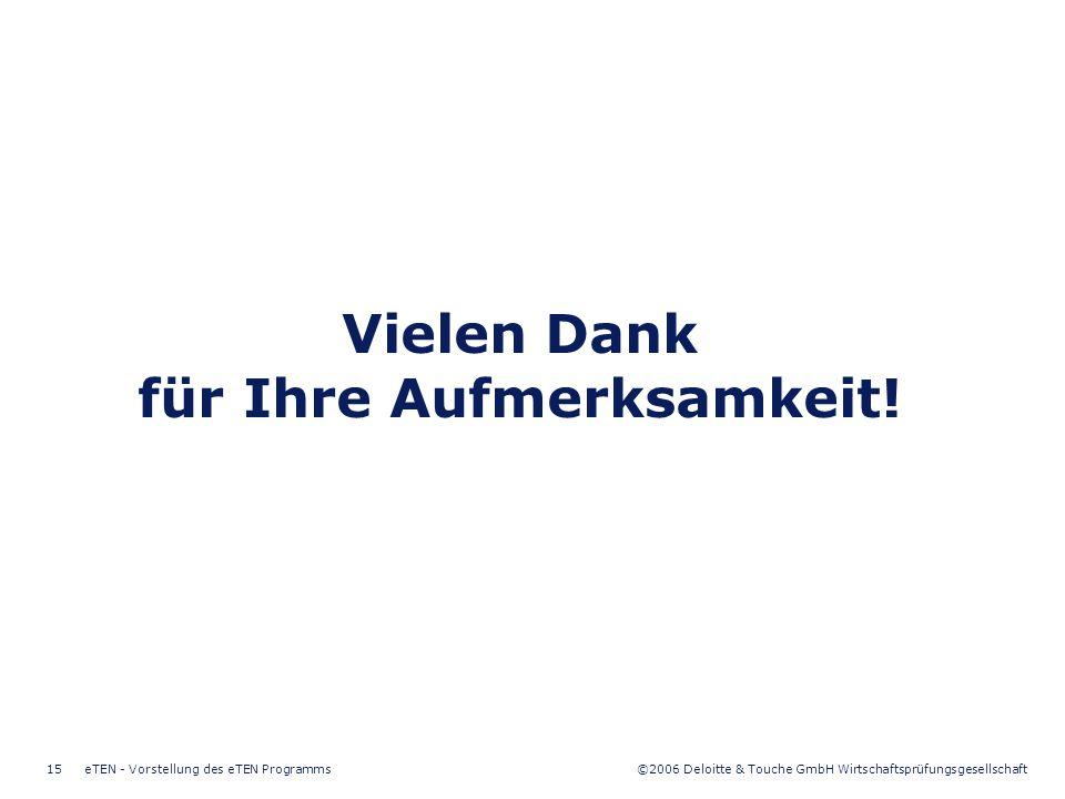 ©2006 Deloitte & Touche GmbH Wirtschaftsprüfungsgesellschaft eTEN - Vorstellung des eTEN Programms15 Vielen Dank für Ihre Aufmerksamkeit!