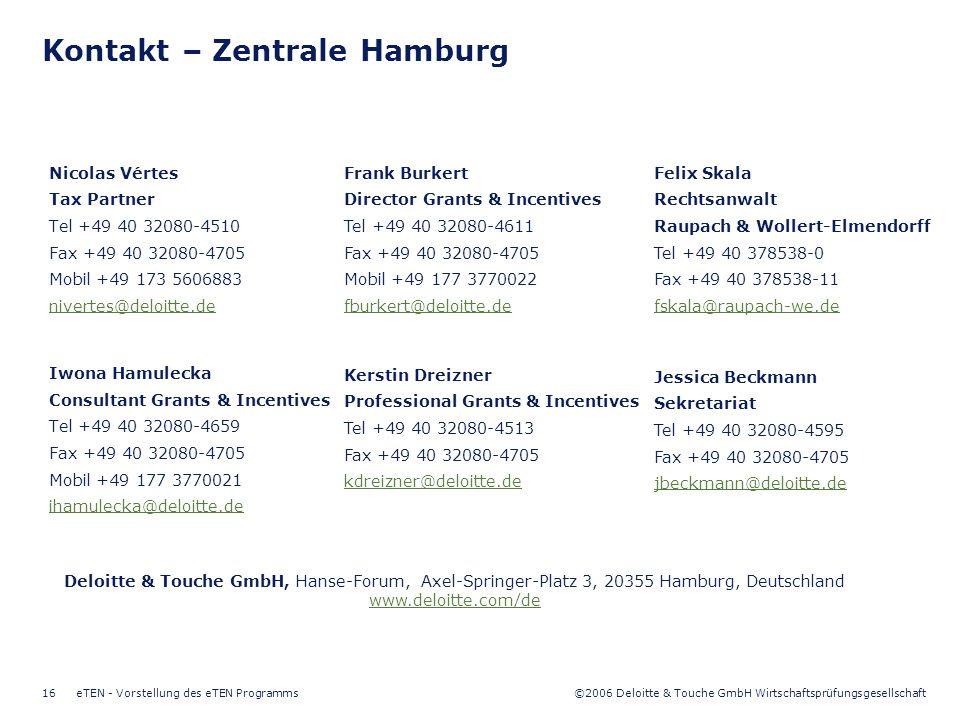 ©2006 Deloitte & Touche GmbH Wirtschaftsprüfungsgesellschaft eTEN - Vorstellung des eTEN Programms16 Kontakt – Zentrale Hamburg Nicolas Vértes Tax Par