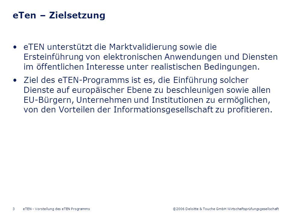 ©2006 Deloitte & Touche GmbH Wirtschaftsprüfungsgesellschaft eTEN - Vorstellung des eTEN Programms4 Elektronisches Lernen (eLearning) Unterstützungsdienste für KMU* Elektronische Behördendienste (eGovernment) Elektronische Gesundheitsdienste (eHealth) Digitale Integration (eInclusion) Vertrauen und Sicherheit (eSecurity) *Max.
