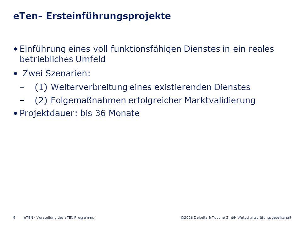 ©2006 Deloitte & Touche GmbH Wirtschaftsprüfungsgesellschaft eTEN - Vorstellung des eTEN Programms10 eTen- Förderquote eTen Förderquote für Marktvalidierungsprojekte –Unternehmen: bis zu 50% der förderfähigen Projektkosten –Öffentliche Einrichtungen: 100% der zusätzlichen Aufwendungen –Projektbudget: durchschnittlich EUR 2 Mio.