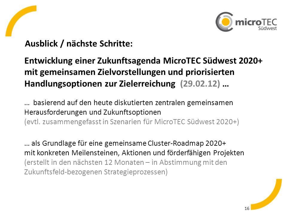 Ausblick / nächste Schritte: 16 Entwicklung einer Zukunftsagenda MicroTEC Südwest 2020+ mit gemeinsamen Zielvorstellungen und priorisierten Handlungsoptionen zur Zielerreichung (29.02.12) … … als Grundlage für eine gemeinsame Cluster-Roadmap 2020+ mit konkreten Meilensteinen, Aktionen und förderfähigen Projekten (erstellt in den nächsten 12 Monaten – in Abstimmung mit den Zukunftsfeld-bezogenen Strategieprozessen) … basierend auf den heute diskutierten zentralen gemeinsamen Herausforderungen und Zukunftsoptionen (evtl.