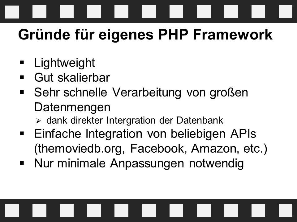 Gründe für eigenes PHP Framework  Lightweight  Gut skalierbar  Sehr schnelle Verarbeitung von großen Datenmengen  dank direkter Intergration der D