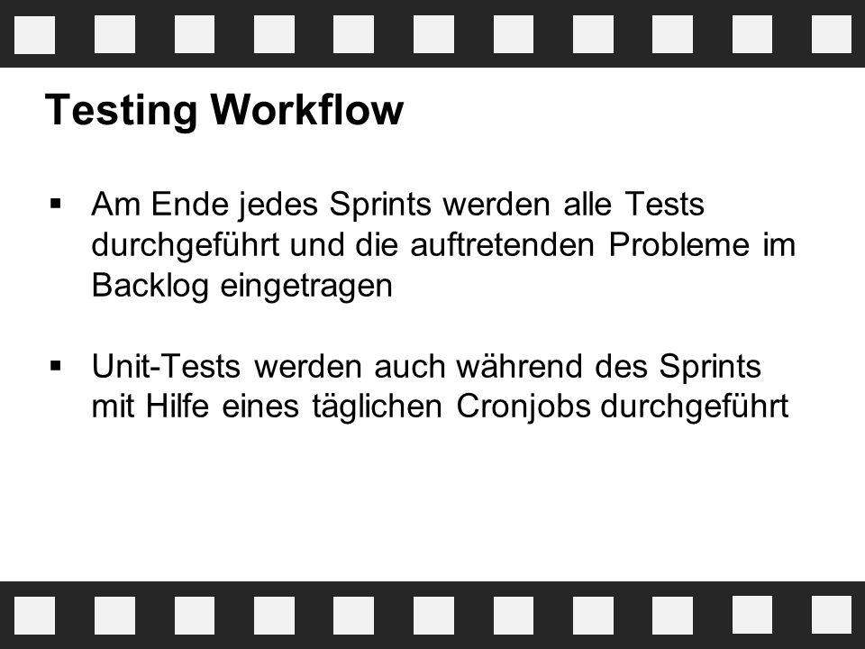 Testing Workflow  Am Ende jedes Sprints werden alle Tests durchgeführt und die auftretenden Probleme im Backlog eingetragen  Unit-Tests werden auch