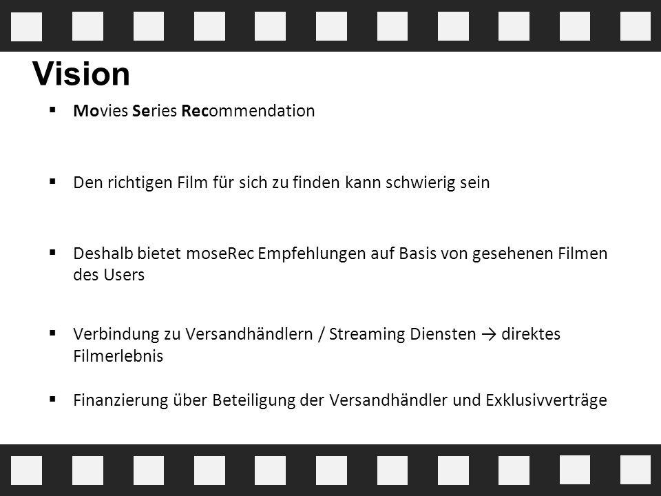 Vision  Movies Series Recommendation  Den richtigen Film für sich zu finden kann schwierig sein  Deshalb bietet moseRec Empfehlungen auf Basis von