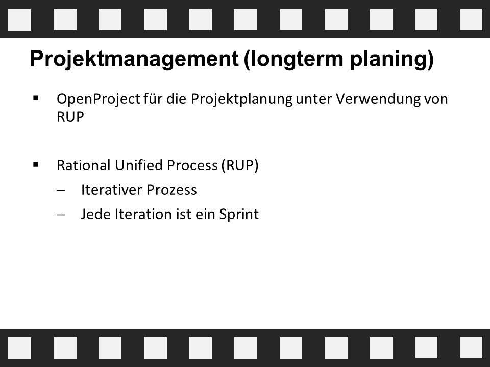 Projektmanagement (longterm planing)  OpenProject für die Projektplanung unter Verwendung von RUP  Rational Unified Process (RUP)  Iterativer Proze
