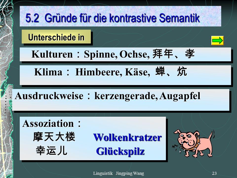 Linguistik Jingping Wang22 5. Kontrastive Semantik 5. Kontrastive Semantik Intension: Zwischenprüfung, Fernwärme keine Entsprechung: keine Entsprechun