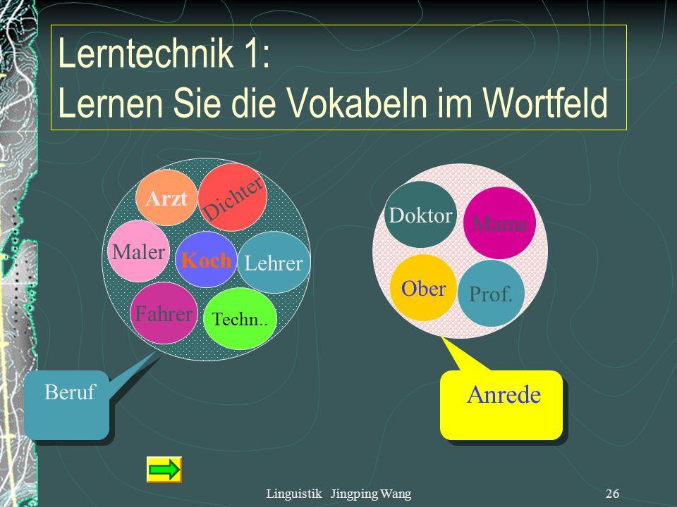 Linguistik Jingping Wang25 6. Tipps zum Lernen des Wortschatzes Das Vokabular als ein System ansehen. Sich mit den Relationen der Wörter beschäftigen.
