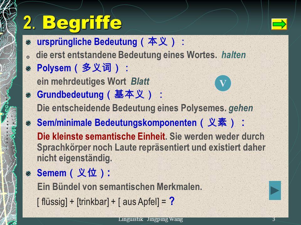 Linguistik Jingping Wang2 Wir werden in diesem Kapitel kennen lernen,  Was ist ein Wort?  Warum sagen wir, dass ein Wort unveränderlich, aber auch v