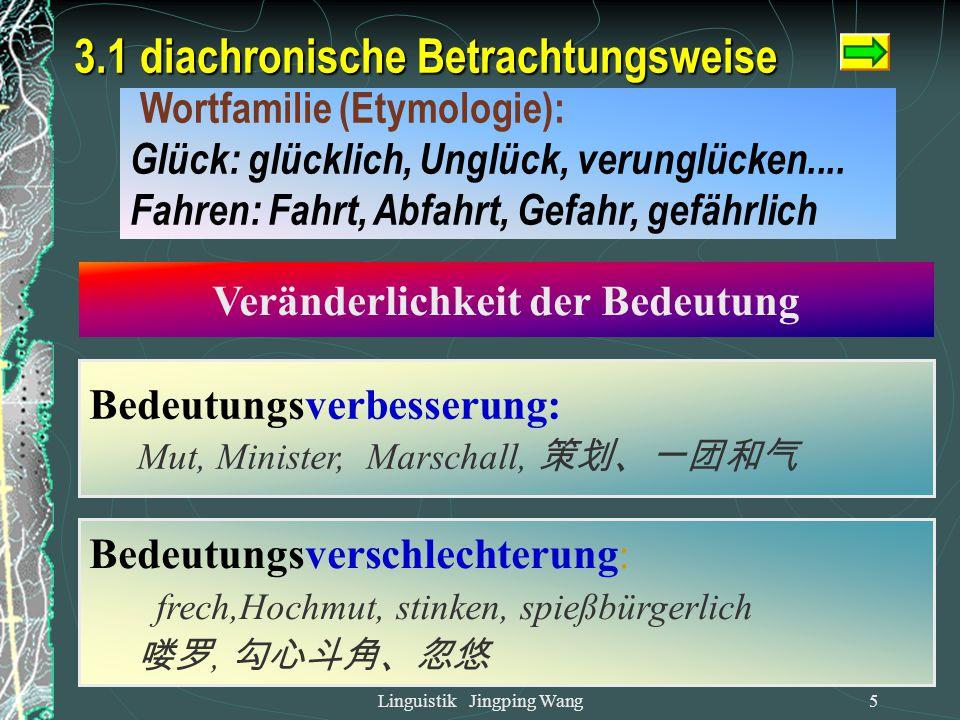 Linguistik Jingping Wang4 diachronisch synchronisch Raum Zeit