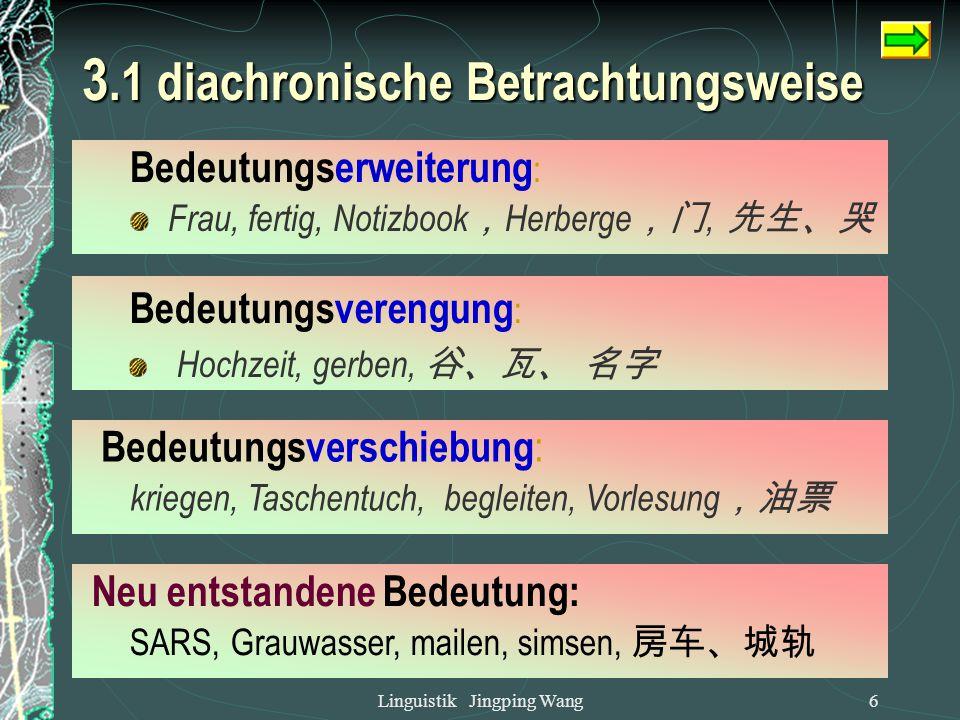 Linguistik Jingping Wang5 3.1 diachronische Betrachtungsweise Wortfamilie (Etymologie): Glück: glücklich, Unglück, verunglücken.... Fahren: Fahrt, Abf
