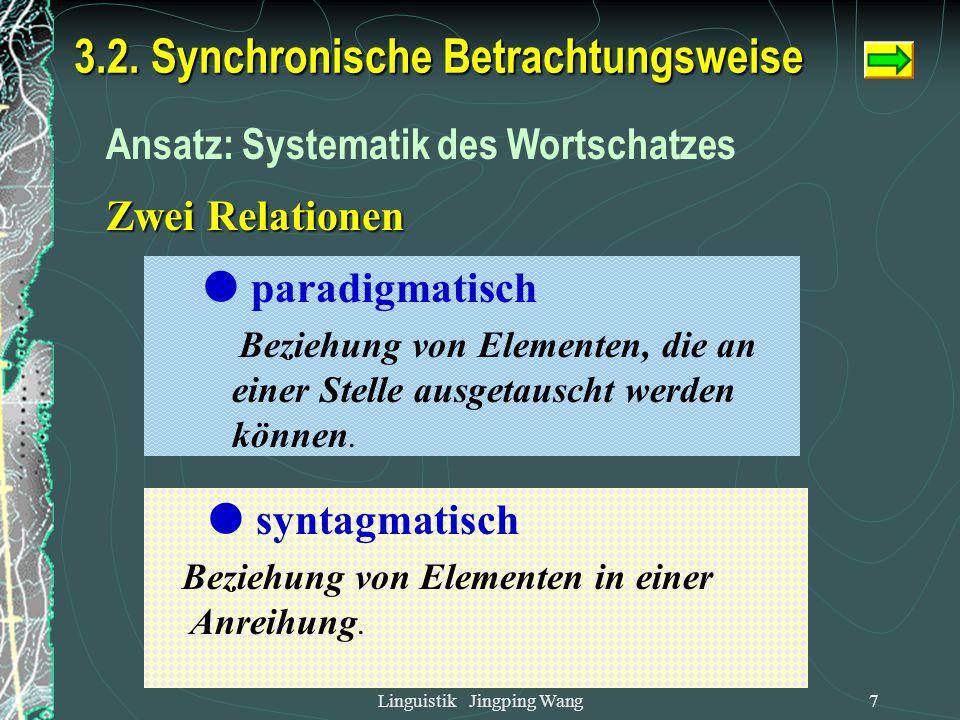 Linguistik Jingping Wang6 Bedeutungserweiterung : Frau, fertig, Notizbook , Herberge ,门, 先生、哭 3.1 diachronische Betrachtungsweise Bedeutungsverschiebu