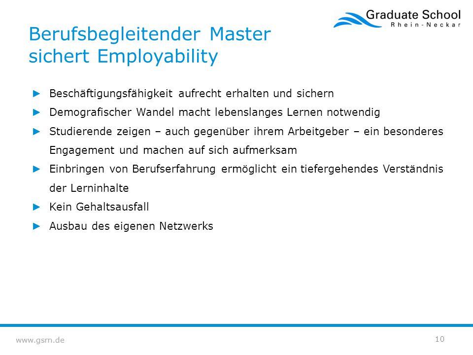 www.gsrn.de Berufsbegleitender Master sichert Employability ► Beschäftigungsfähigkeit aufrecht erhalten und sichern ► Demografischer Wandel macht lebe