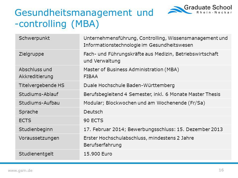 www.gsrn.de Gesundheitsmanagement und -controlling (MBA) Schwerpunkt Unternehmensführung, Controlling, Wissensmanagement und Informationstechnologie i