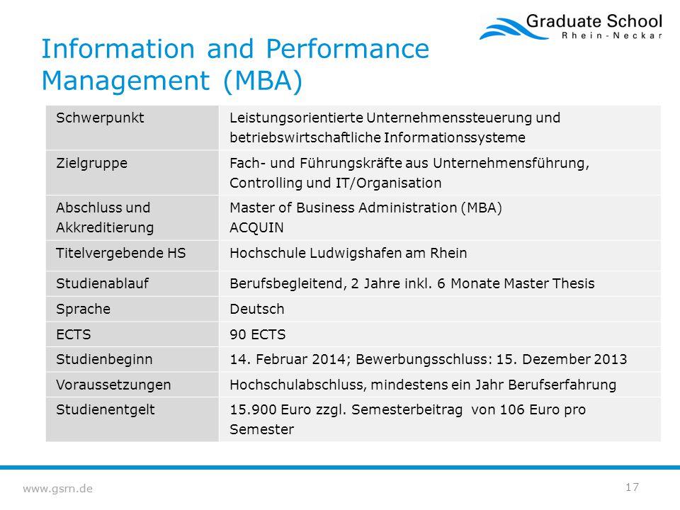 www.gsrn.de Information and Performance Management (MBA) Schwerpunkt Leistungsorientierte Unternehmenssteuerung und betriebswirtschaftliche Informatio