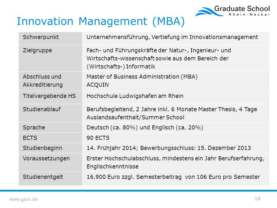 www.gsrn.de Innovation Management (MBA) SchwerpunktUnternehmensführung, Vertiefung im Innovationsmanagement Zielgruppe Fach- und Führungskräfte der Na