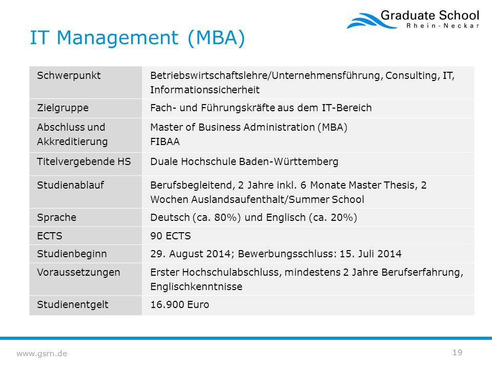 www.gsrn.de IT Management (MBA) Schwerpunkt Betriebswirtschaftslehre/Unternehmensführung, Consulting, IT, Informationssicherheit ZielgruppeFach- und F