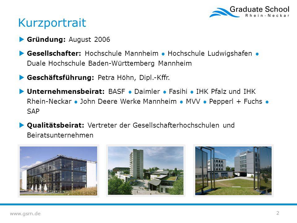 www.gsrn.de 2  Gründung: August 2006  Gesellschafter: Hochschule Mannheim ● Hochschule Ludwigshafen ● Duale Hochschule Baden-Württemberg Mannheim 