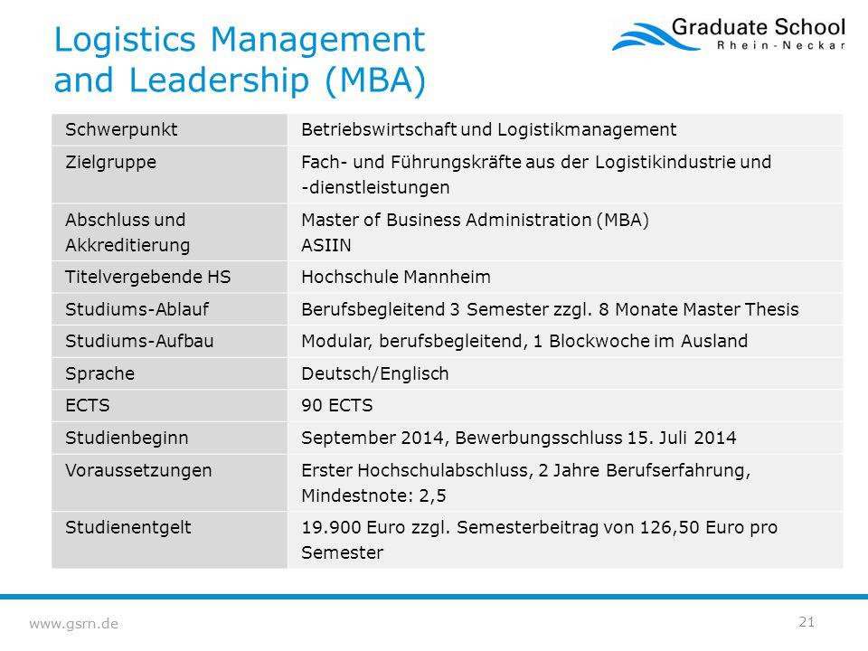 www.gsrn.de Logistics Management and Leadership (MBA) SchwerpunktBetriebswirtschaft und Logistikmanagement Zielgruppe Fach- und Führungskräfte aus der