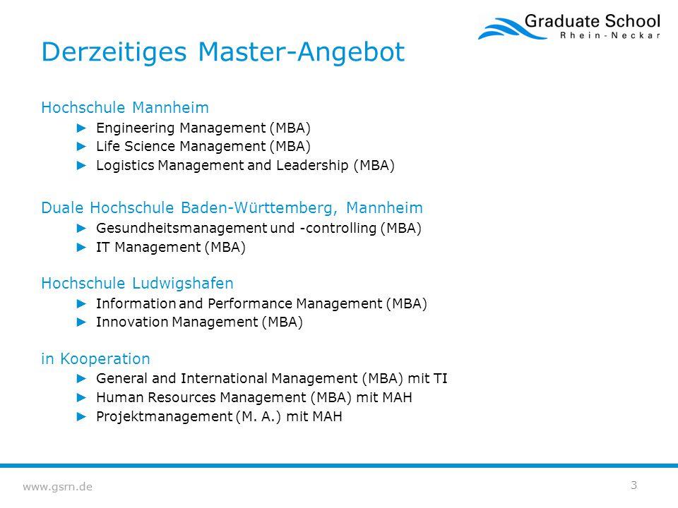 www.gsrn.de Anhang 14 Berufsbegleitende MBA-Studiengänge der Graduate School Rhein-Neckar