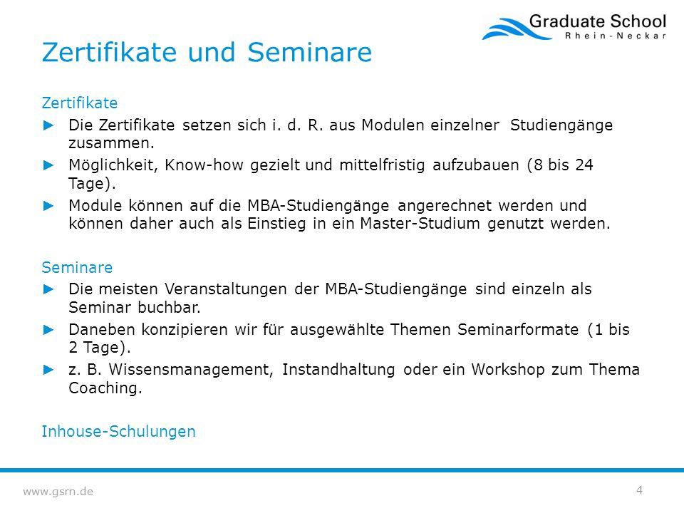 www.gsrn.de Zertifikate und Seminare Zertifikate ► Die Zertifikate setzen sich i. d. R. aus Modulen einzelner Studiengänge zusammen. ► Möglichkeit, Kn