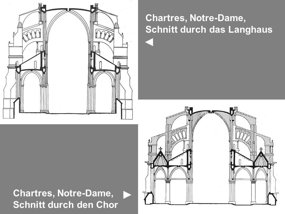 Chartres, Notre-Dame, Schnitt durch das Langhaus Chartres, Notre-Dame, Schnitt durch den Chor