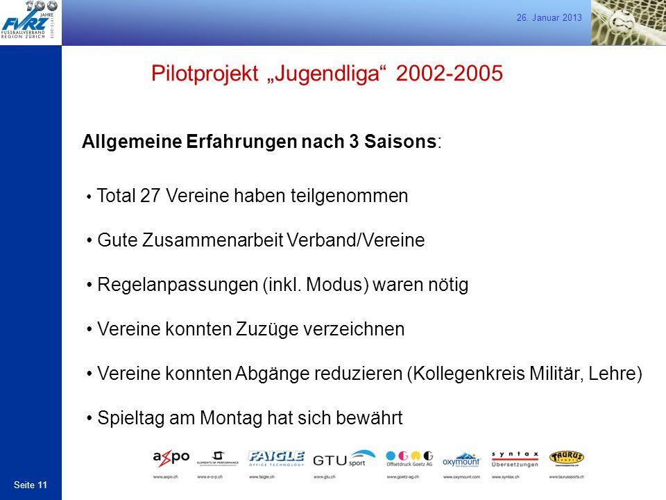"""26. Januar 2013 Seite 11 Allgemeine Erfahrungen nach 3 Saisons: Pilotprojekt """"Jugendliga"""" 2002-2005 Total 27 Vereine haben teilgenommen Gute Zusammena"""