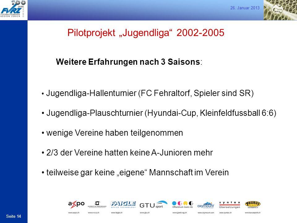 """26. Januar 2013 Seite 14 Weitere Erfahrungen nach 3 Saisons: Pilotprojekt """"Jugendliga"""" 2002-2005 Jugendliga-Hallenturnier (FC Fehraltorf, Spieler sind"""
