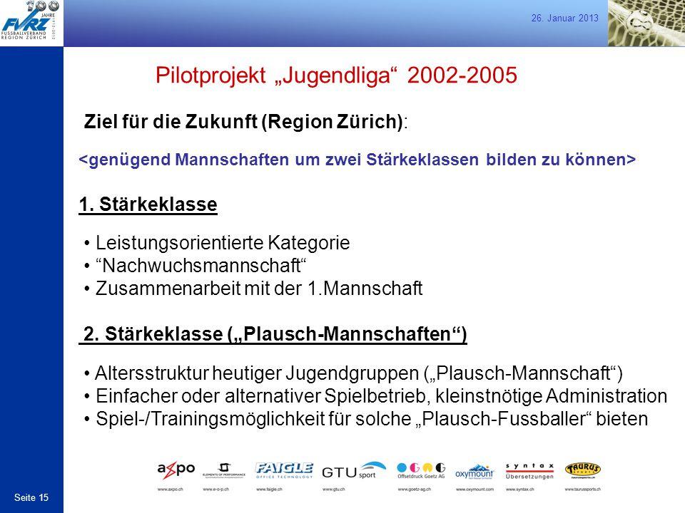 """26. Januar 2013 Seite 15 Ziel für die Zukunft (Region Zürich): Pilotprojekt """"Jugendliga"""" 2002-2005 1. Stärkeklasse Leistungsorientierte Kategorie """"Nac"""