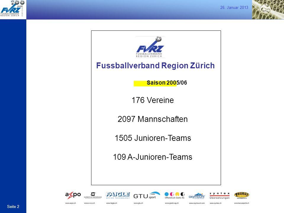 26. Januar 2013 Seite 2 Fussballverband Region Zürich Saison 2005/06 176 Vereine 2097 Mannschaften 1505 Junioren-Teams 109 A-Junioren-Teams