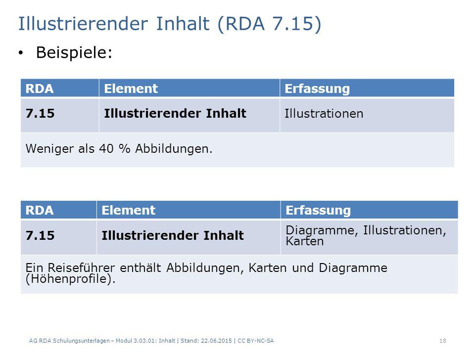 Illustrierender Inhalt (RDA 7.15) AG RDA Schulungsunterlagen – Modul 3.03.01: Inhalt | Stand: 22.06.2015 | CC BY-NC-SA 18 RDAElementErfassung 7.15Illustrierender InhaltIllustrationen Weniger als 40 % Abbildungen.