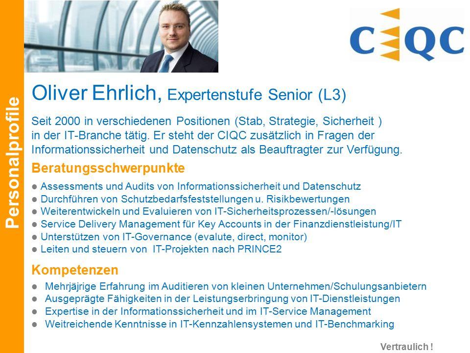 Seit 2000 in verschiedenen Positionen (Stab, Strategie, Sicherheit ) in der IT-Branche tätig. Er steht der CIQC zusätzlich in Fragen der Informationss