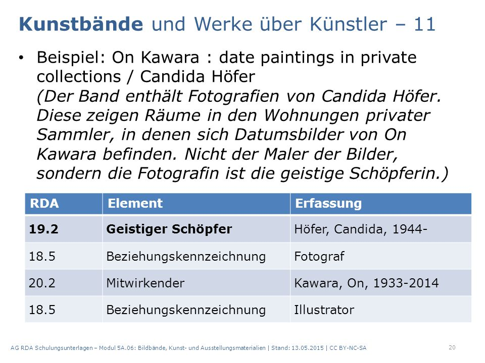 Beispiel: On Kawara : date paintings in private collections / Candida Höfer (Der Band enthält Fotografien von Candida Höfer.