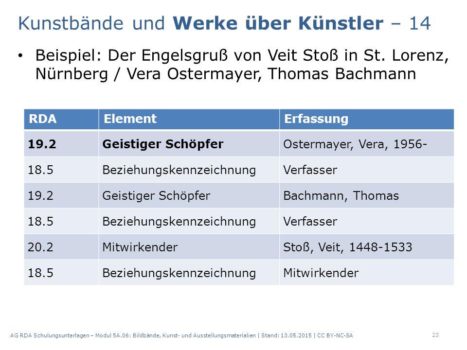 Beispiel: Der Engelsgruß von Veit Stoß in St. Lorenz, Nürnberg / Vera Ostermayer, Thomas Bachmann 23 AG RDA Schulungsunterlagen – Modul 5A.06: Bildbä