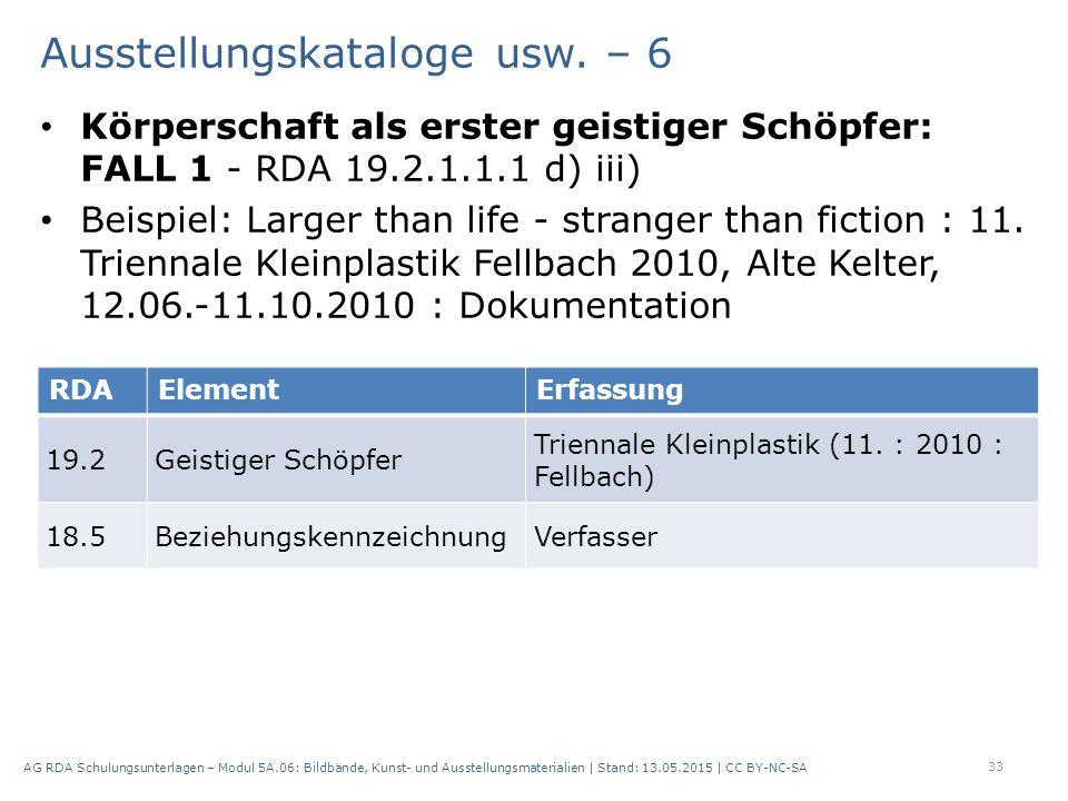 Ausstellungskataloge usw. – 6 Körperschaft als erster geistiger Schöpfer: FALL 1 - RDA 19.2.1.1.1 d) iii) Beispiel: Larger than life - stranger than f