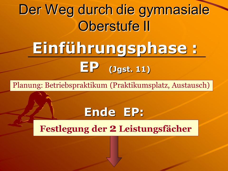 Der Weg durch die gymnasiale Oberstufe III Versetzung in die Qualifikationsphase Q1 (Jgst.