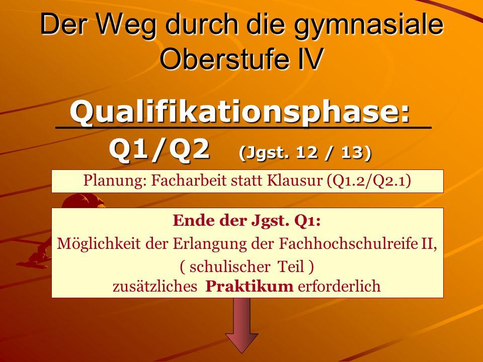 Der Weg durch die gymnasiale Oberstufe IV Qualifikationsphase: Q1/Q2 (Jgst.