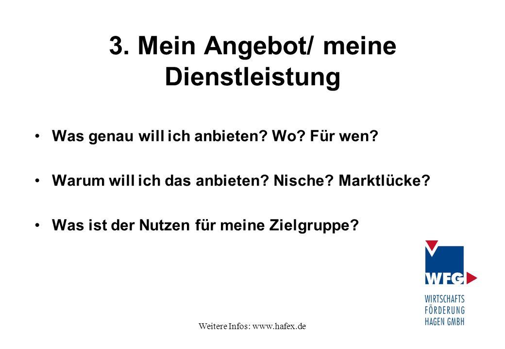 Weitere Infos: www.hafex.de 3. Mein Angebot/ meine Dienstleistung Was genau will ich anbieten? Wo? Für wen? Warum will ich das anbieten? Nische? Markt
